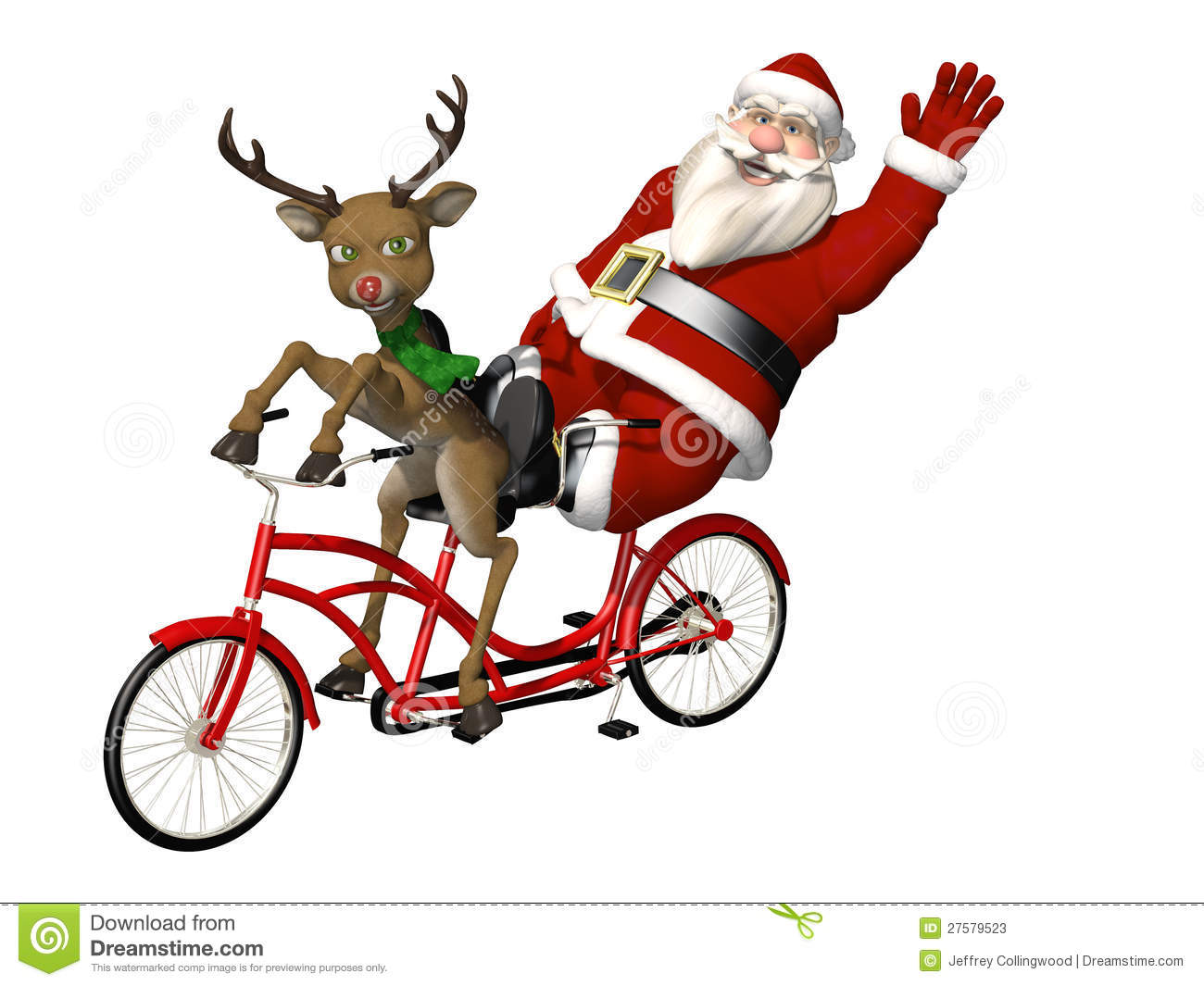Santa And Reindeer Bicycle Built For Two Stock Photos