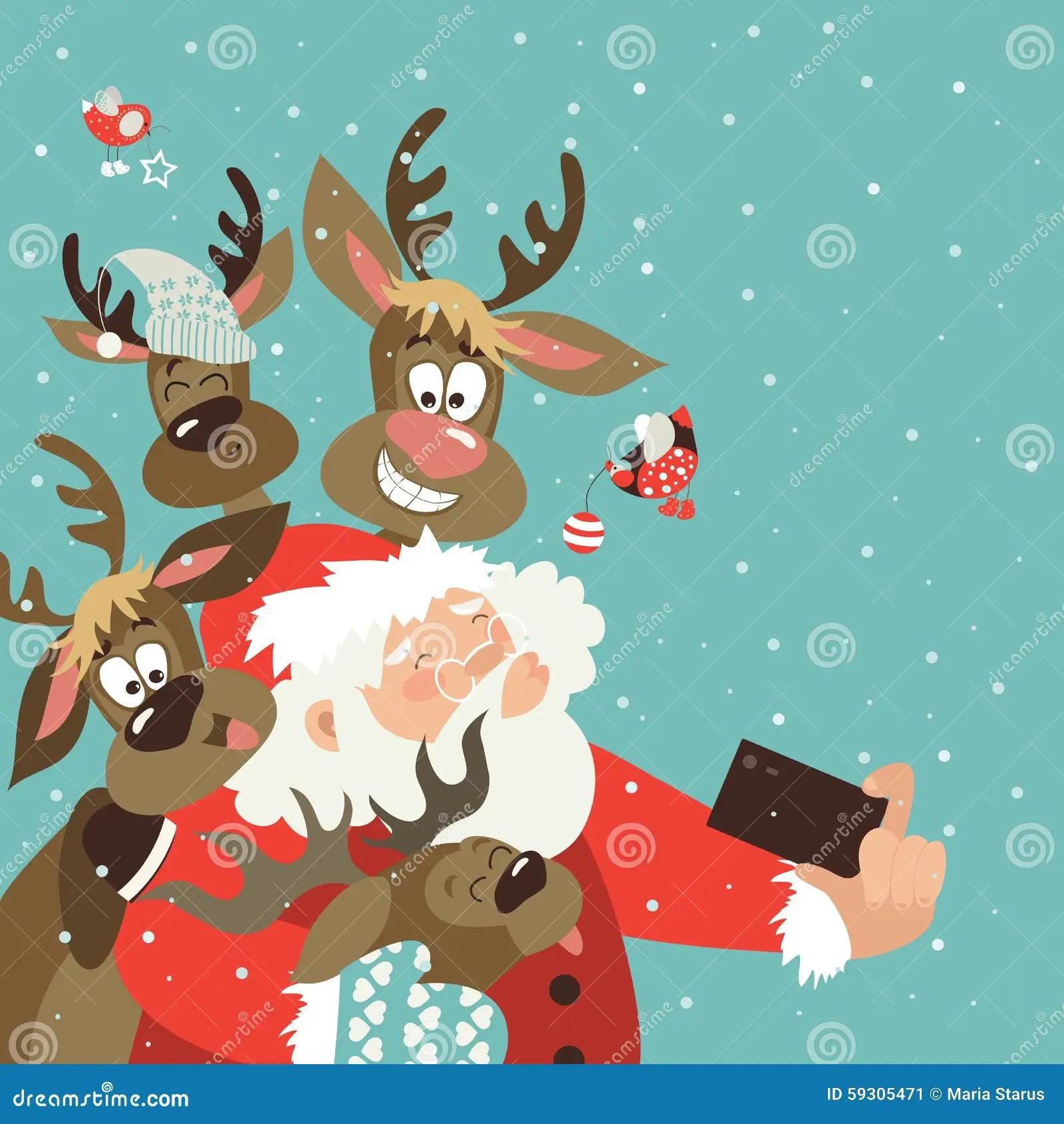 Santa And Reindeers Take A Selfie Stock Vector Image