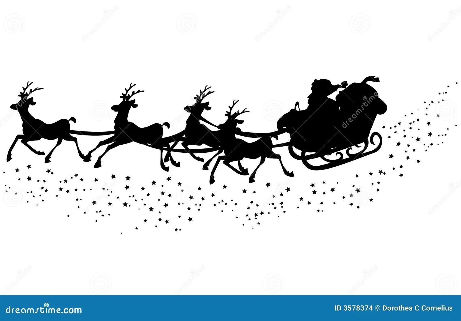 Santas Sleigh Silhouette Stock Illustration Illustration