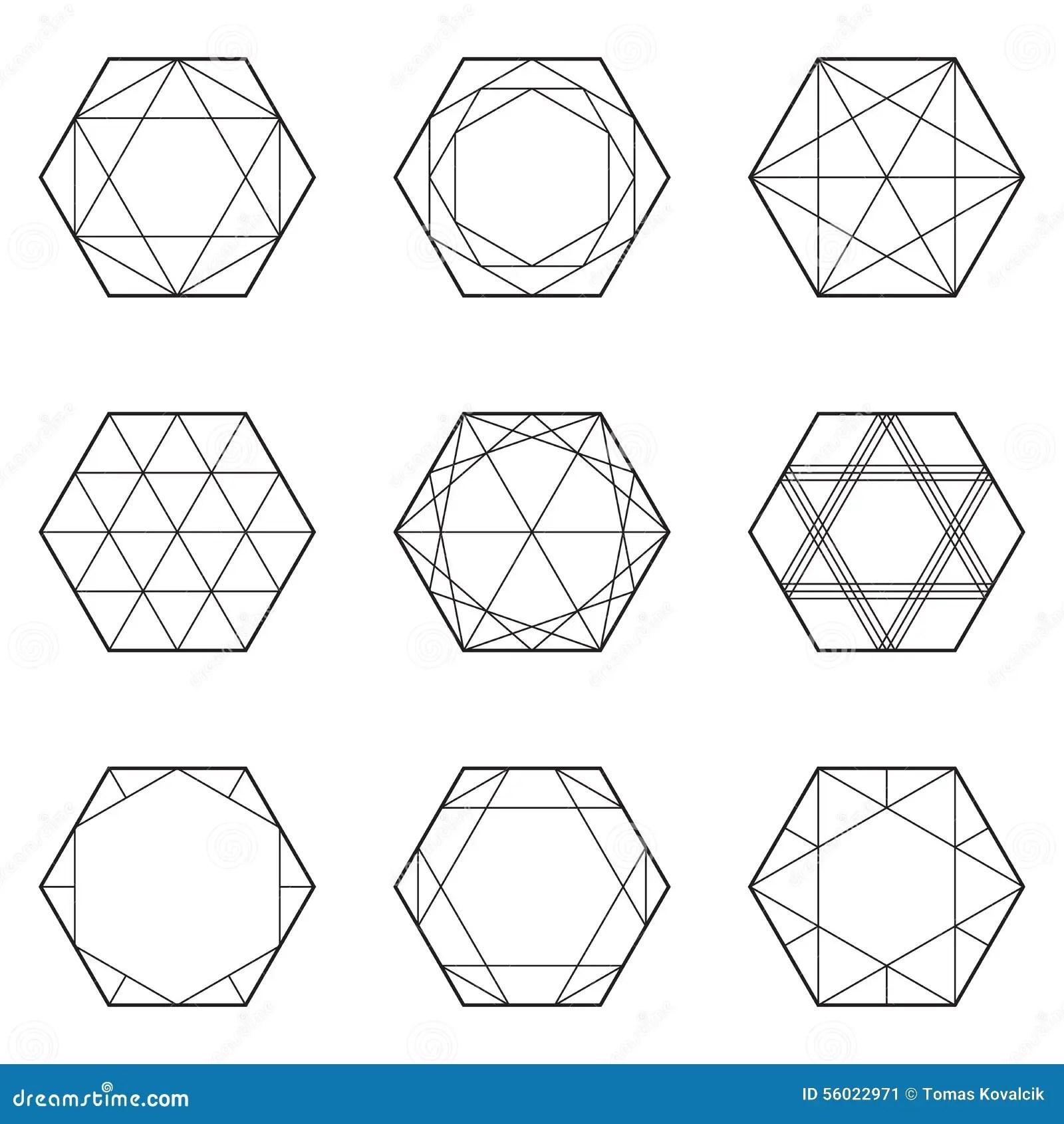 Satz Geometrische Elemente Linie Design Hexagon Vektor