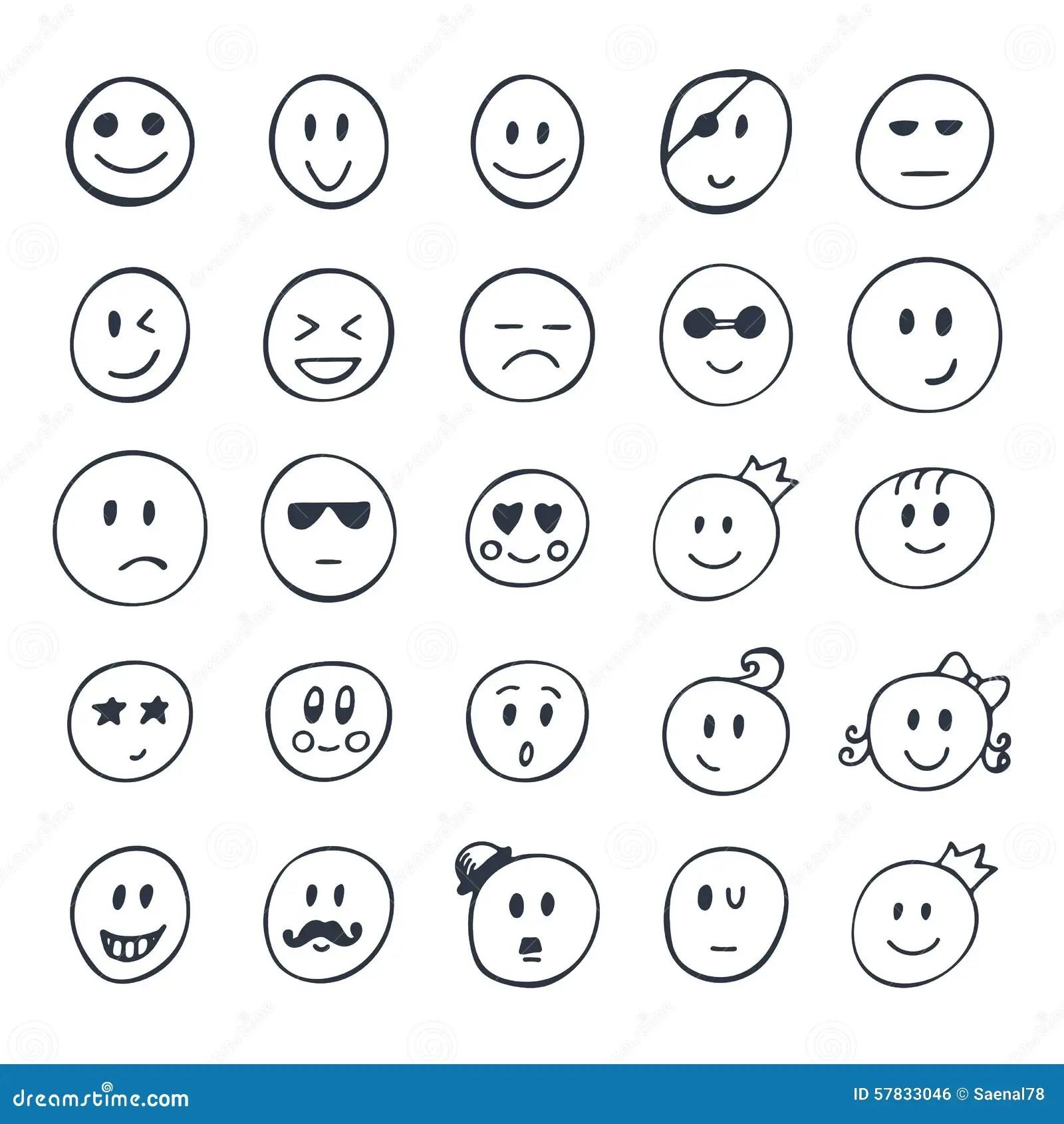 Satz Hand Gezeichneter Smiley Lustige Gesichter Mit