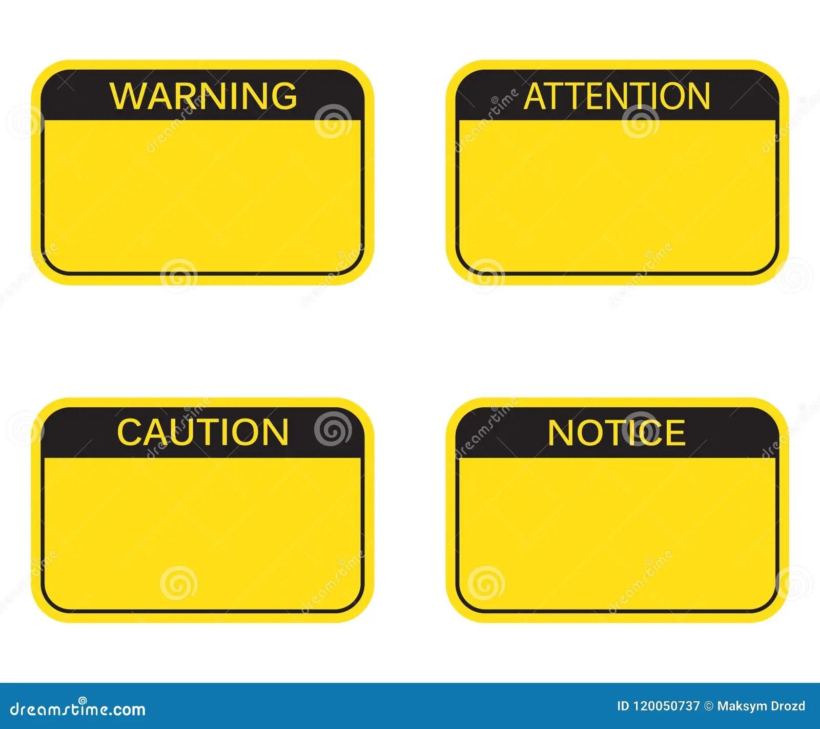 Satz Leeres Rechteck Warnzeichen Aufmerksamkeits Zeichen
