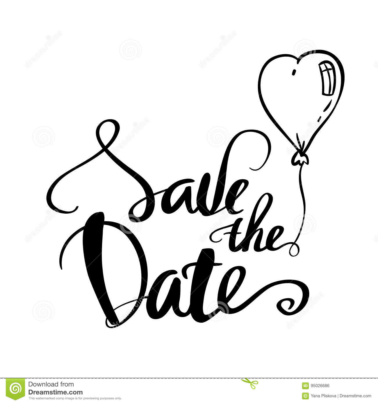 Save The Date Calligraphy For Wedding Or Love Card Stock