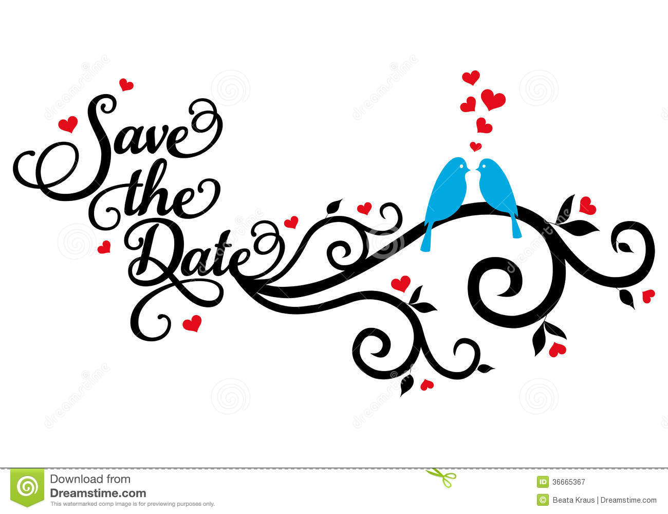 Save The Date Wedding Birds Vector Royalty Free Stock Photography