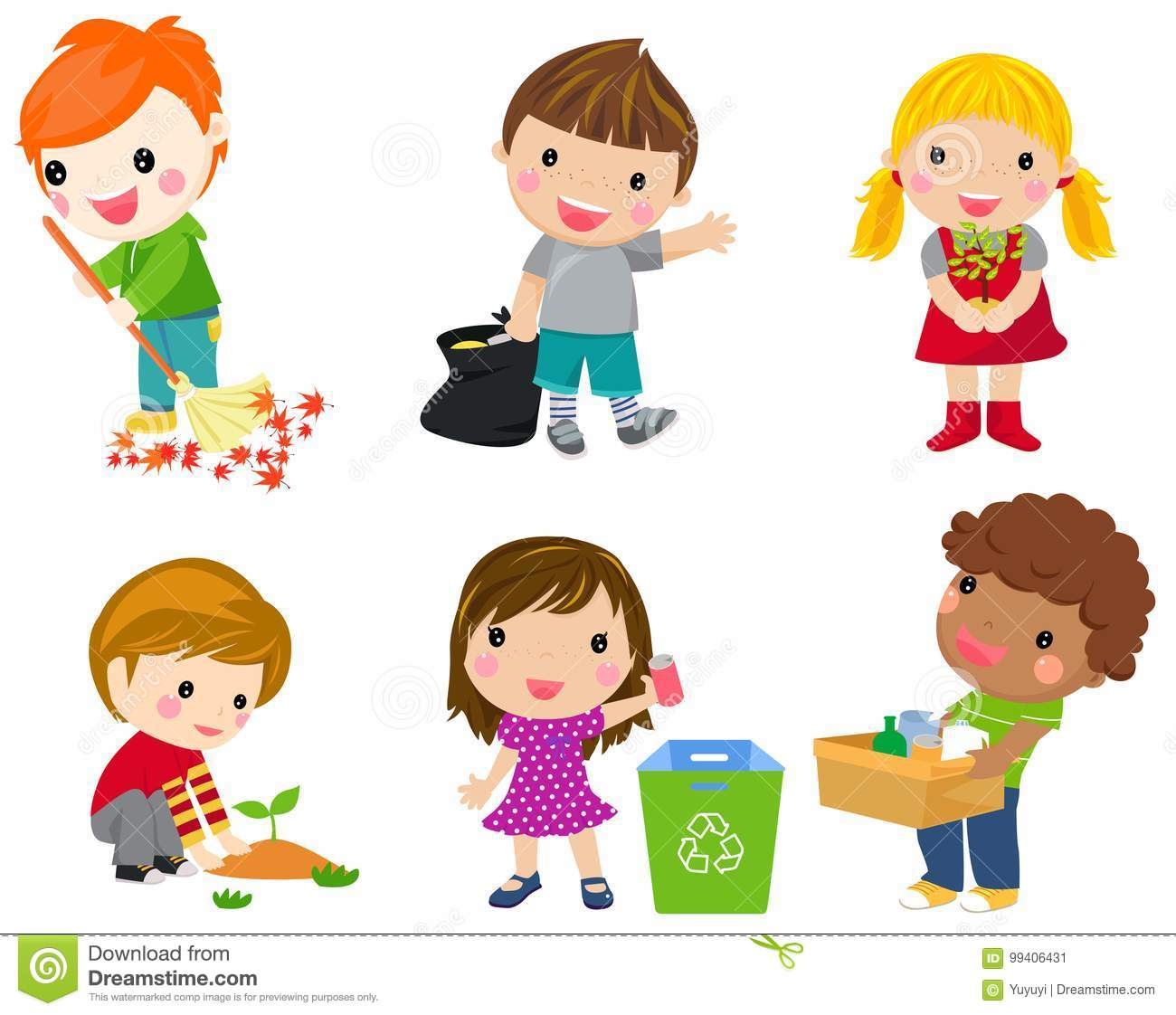 Save Earth Waste Recycling Children Planted Young Trees