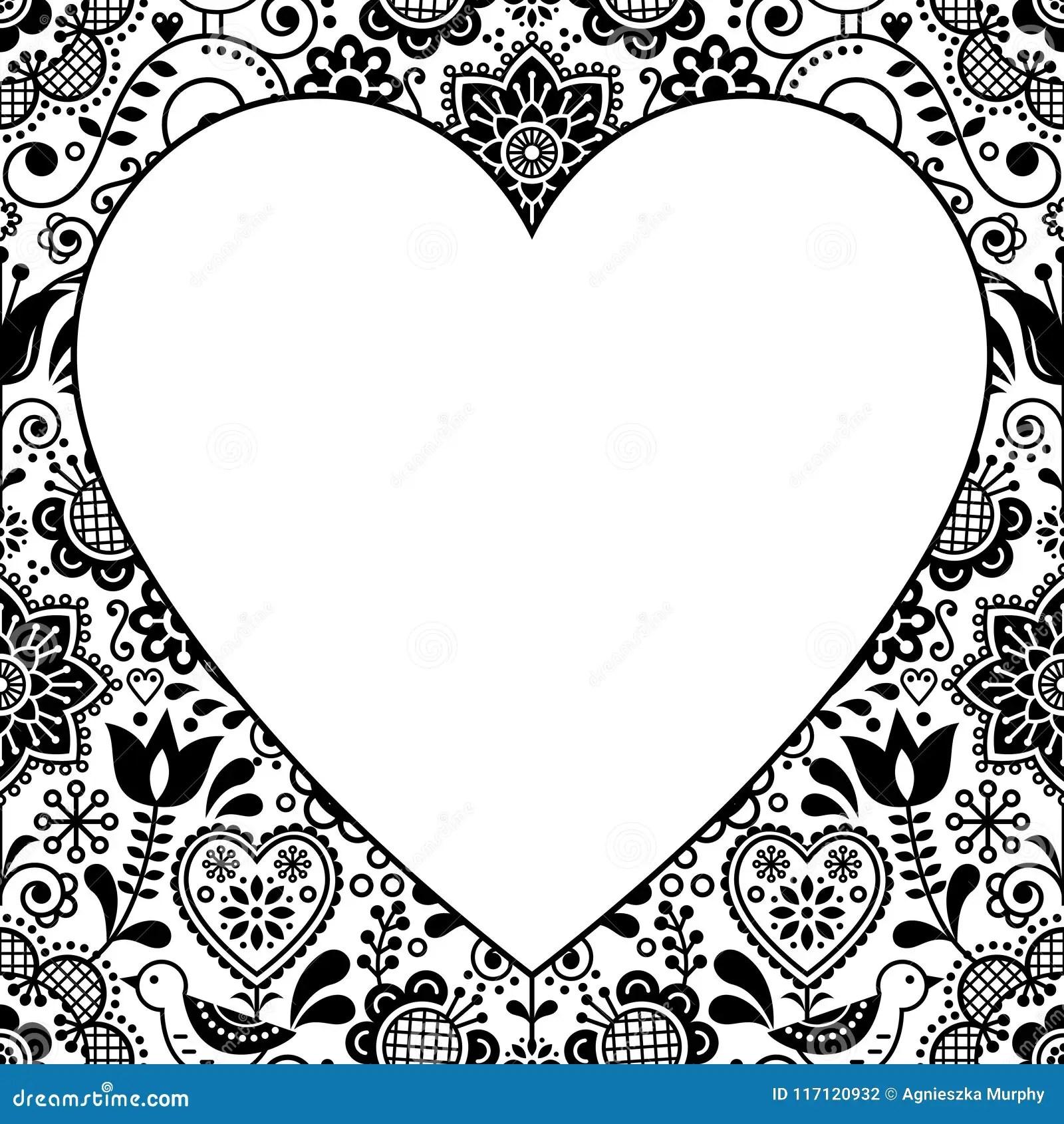 https www dreamstime com scandinavian folk heart design greeting card birthday wedding invitation floral vector pattern black white retro image117120932