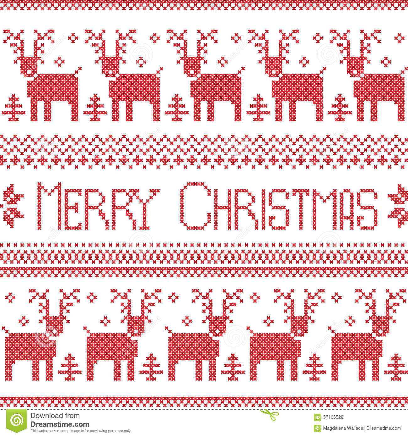 Scandinavian Inspired Merry Christmas Nordic Pattern With 2 Rows Of Reindeer Patten Snowflakes
