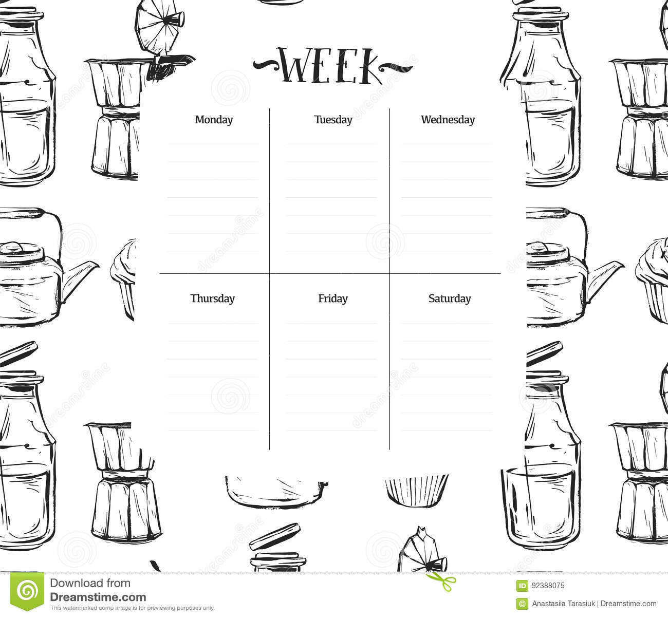 Scandinavian Weekly And Daily Food Planner Templateanizer And Schedule With Notes And To Do