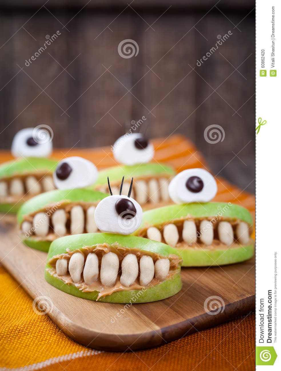 Scary Halloween Food Monsters Healthy Natural Stock