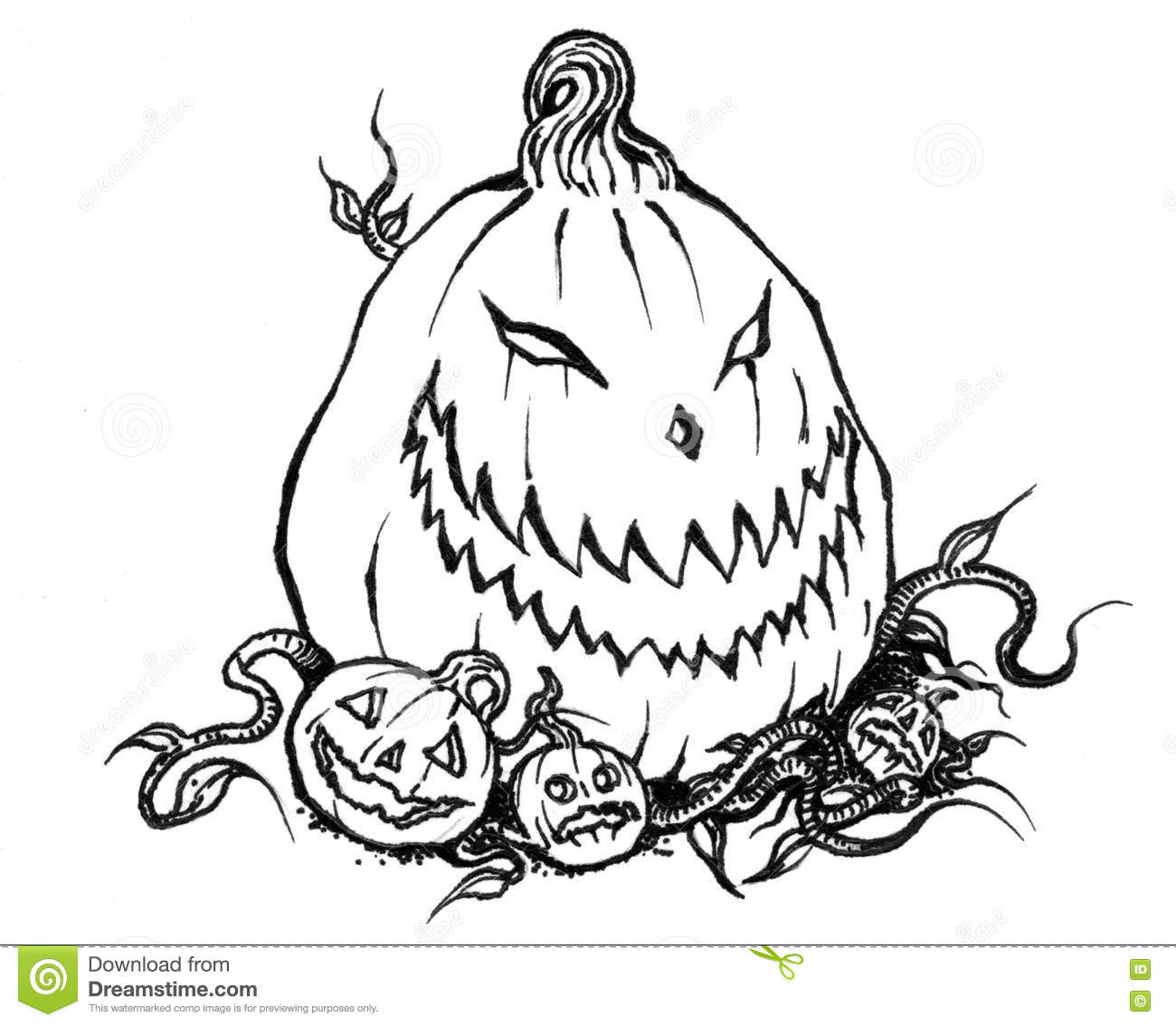 Scary Halloween Jack O Lantern With Baby Pumpkins Stock