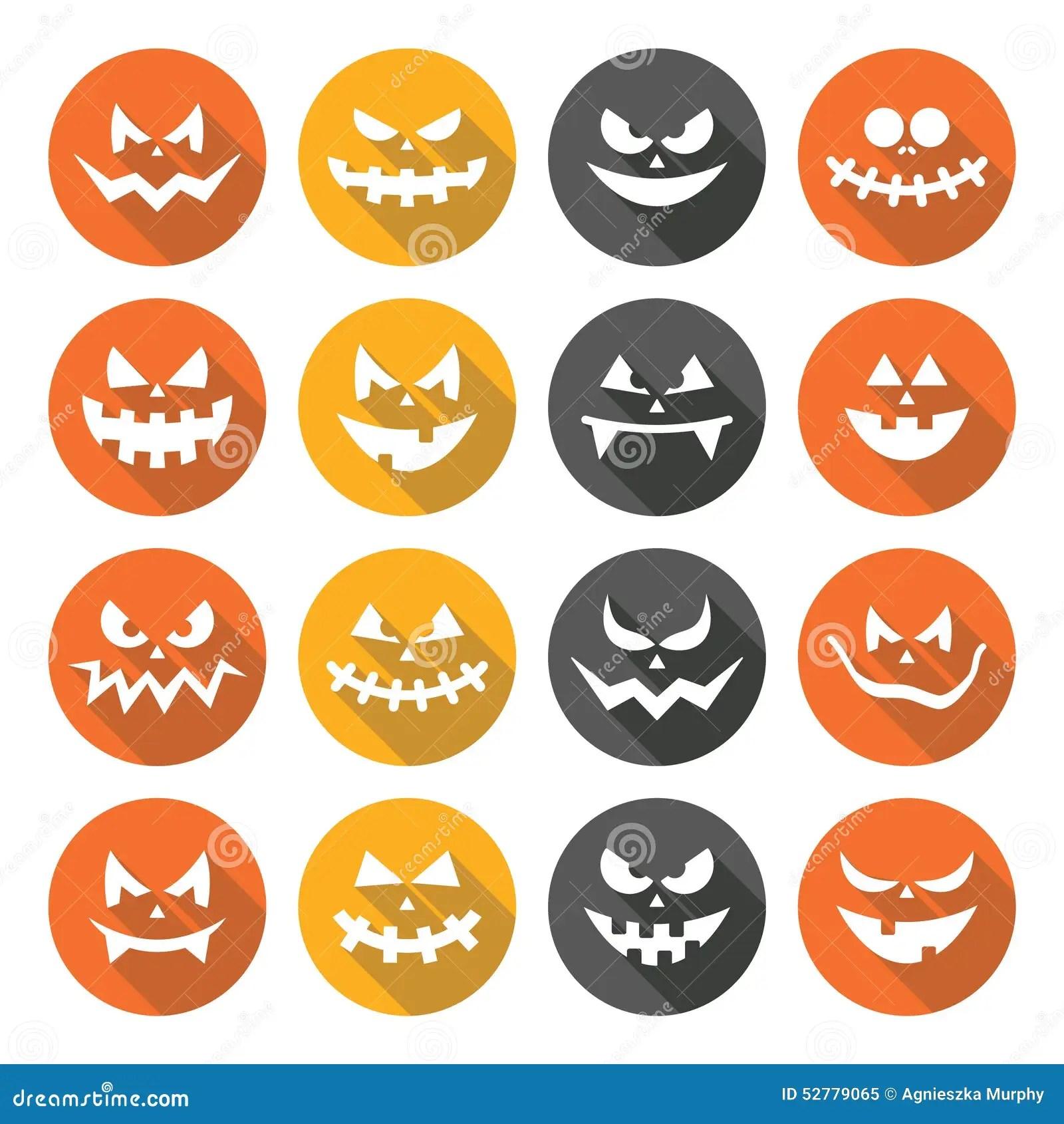 Scary Halloween Pumpkin Faces Flat Design Icons Set Stock