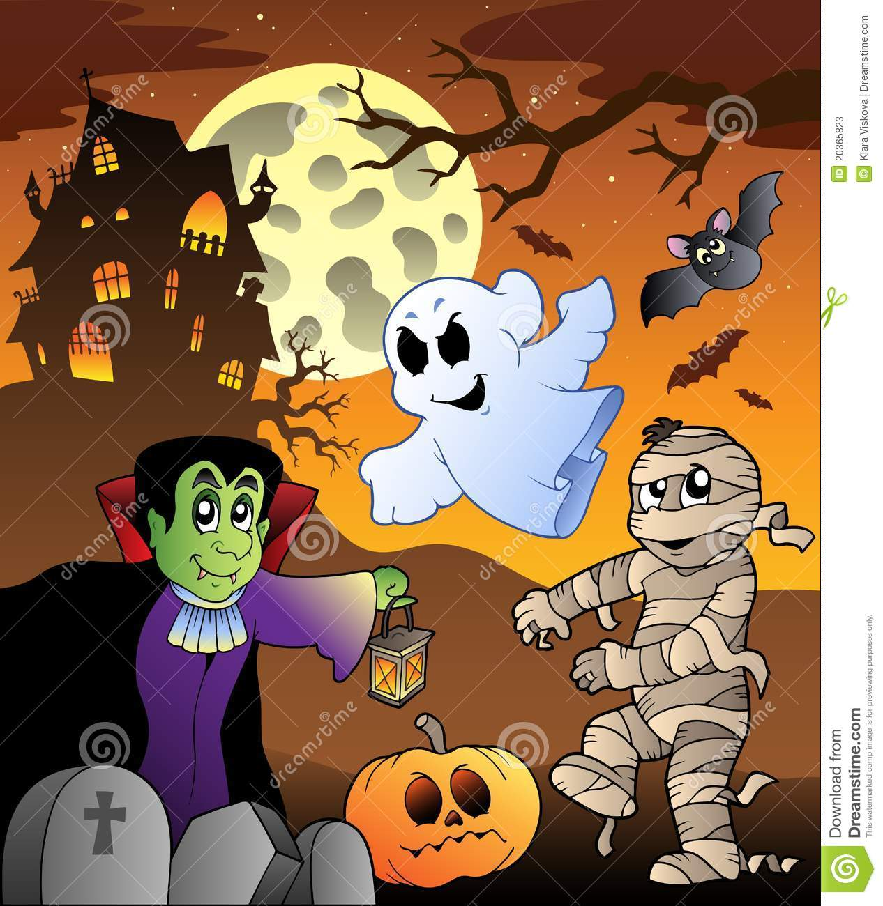 Scene With Haunted House 1 Stock Photos Image 20365823