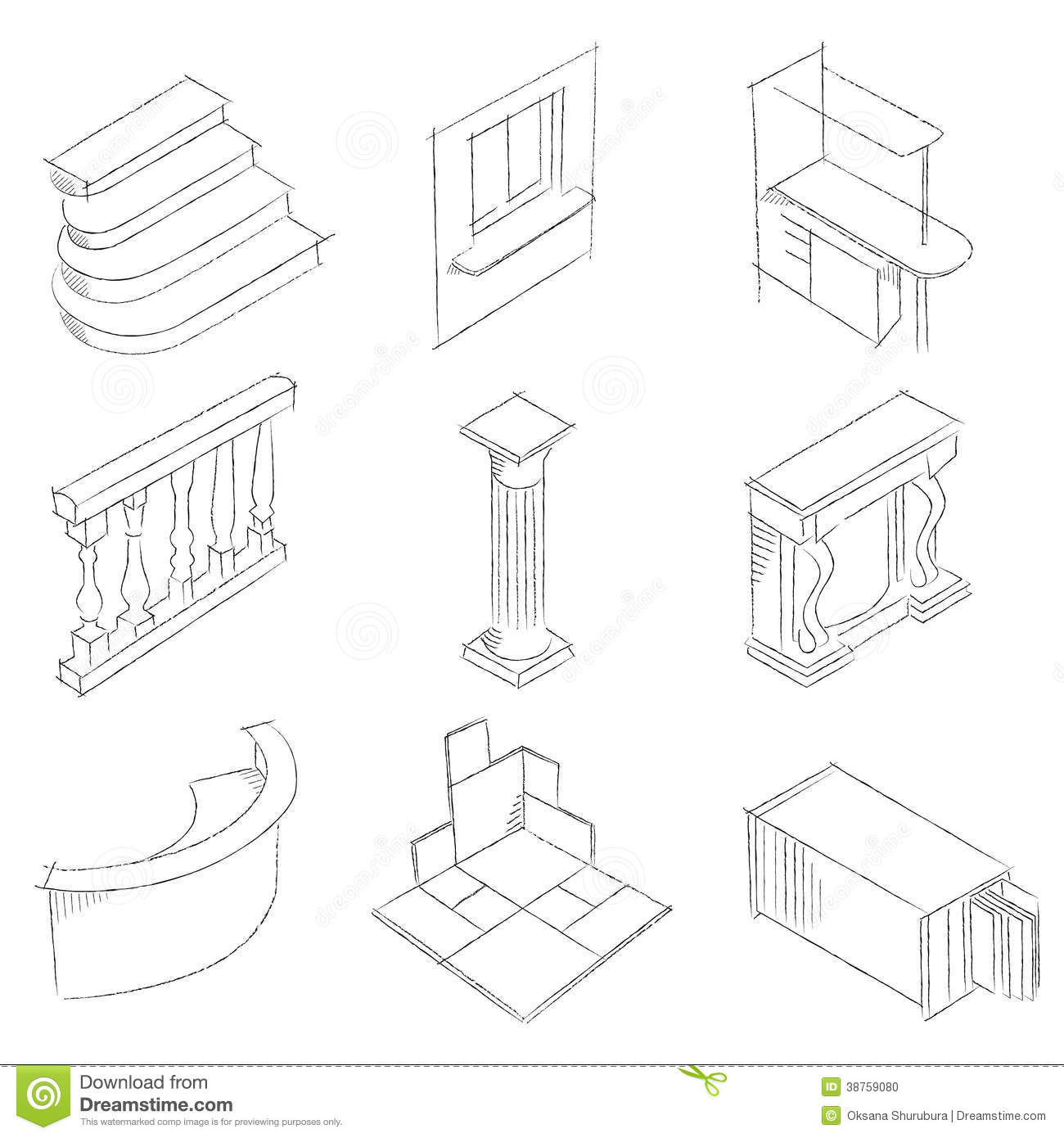 Schematic Drawing Of Stone Products Stock Illustration