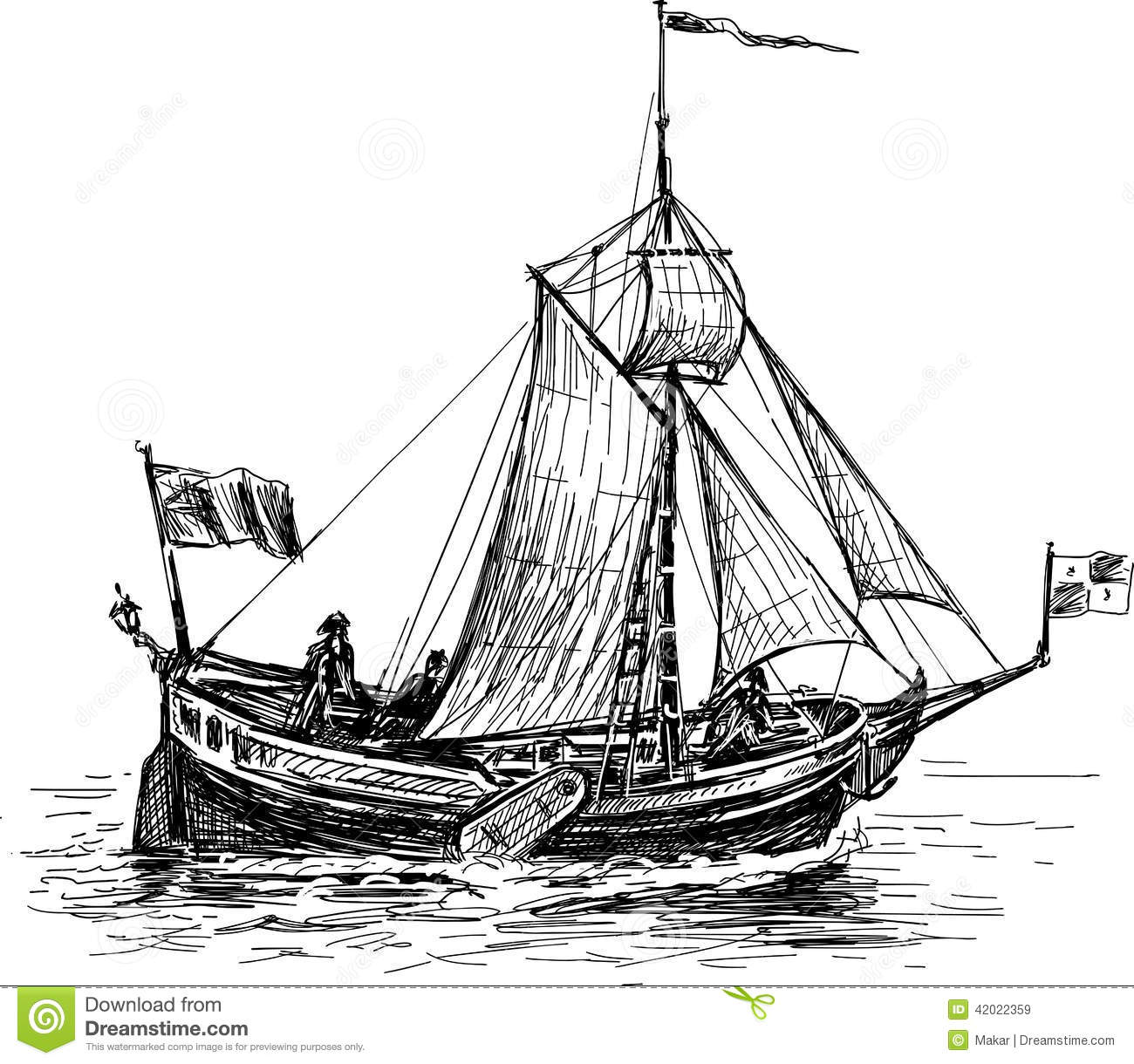 Schets Van De Varende Boot Vector Illustratie Illustratie
