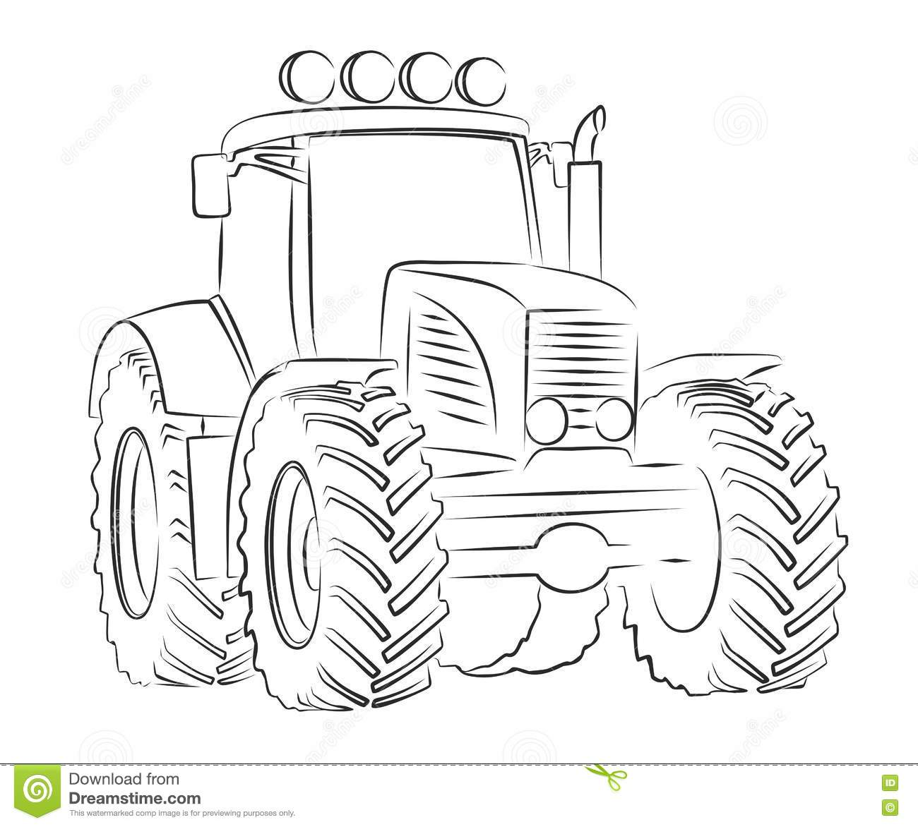Schets Van Tractor Vector Illustratie Illustratie