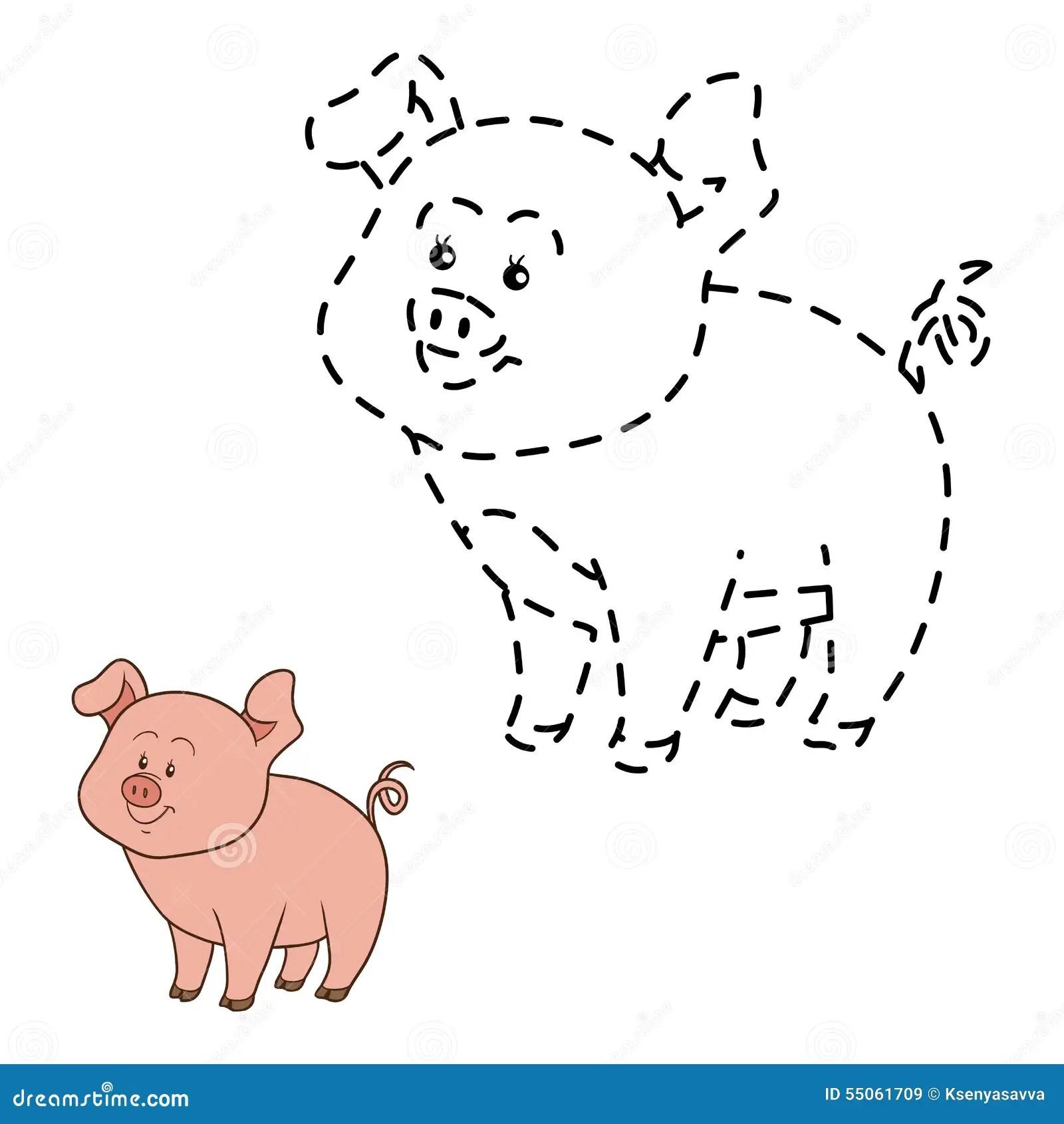 Schlie En Sie Punkte An Schwein Vektor Abbildung