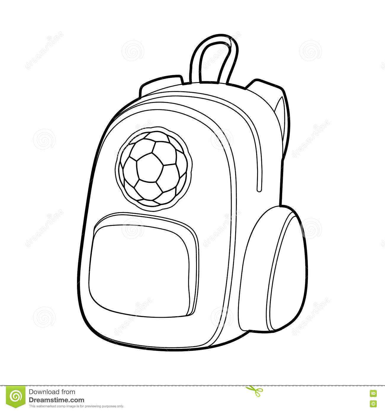 School Backpack Icon Outline Style Stock Vector
