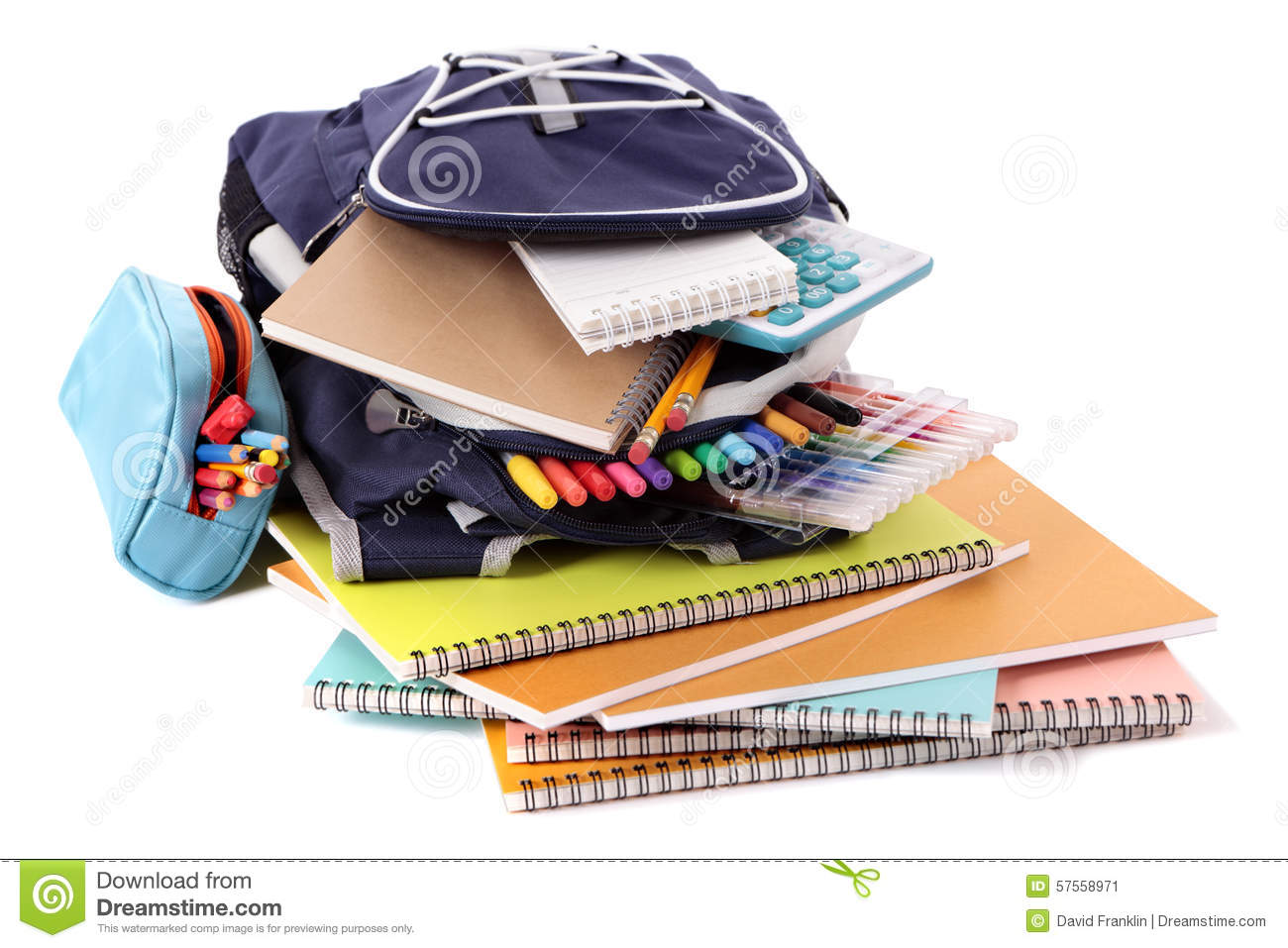 School Bag Pencil Case Equipment Supplies Isolated On