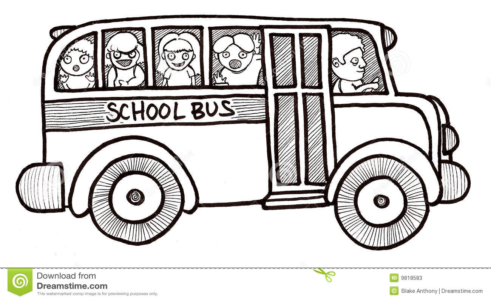 School Bus Children Black And White Stock Illustration