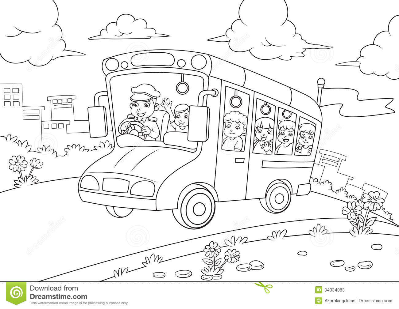 School Bus Outline For Coloring Book Stock Vector