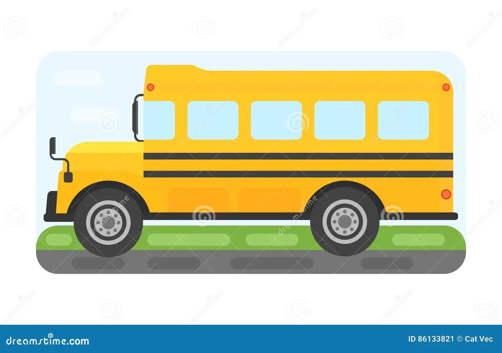 School Bus Transport For Children Vector Illustration Cartoon Vector