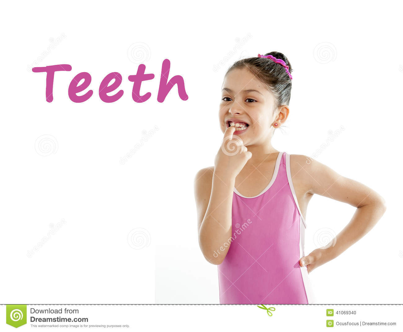 School Card Of Girl Pointing At Her Mouth And Teeth On
