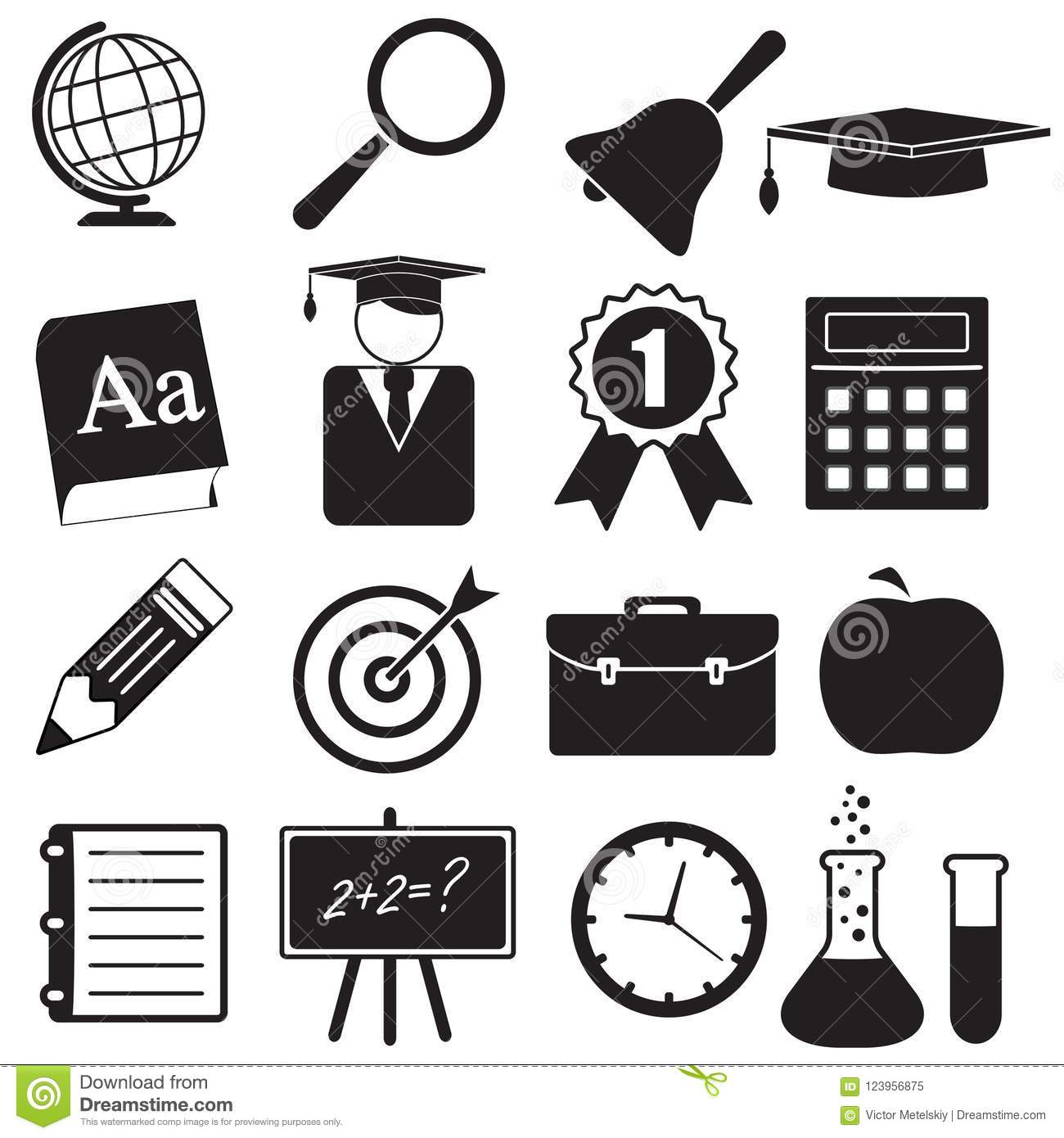 School And Education Icons Set For Science Knowledge
