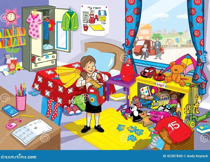 School Girl In Her Untidy Bedroom