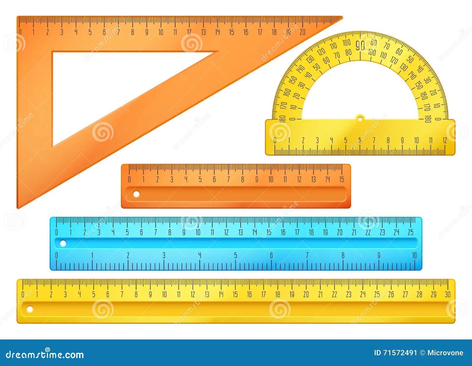 School Instruments Rulers Vector Set Stock Vector
