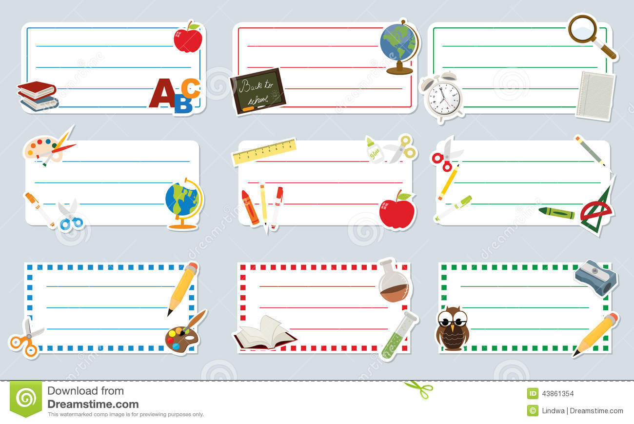 School Labels Stock Vector