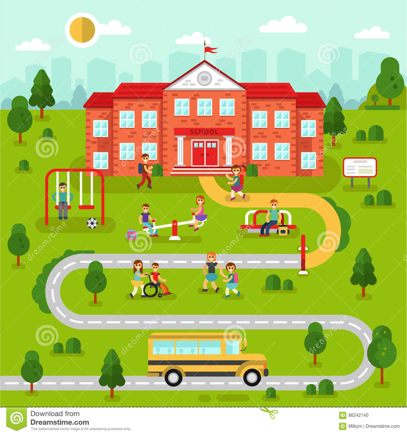 School Map Stock Vector Illustration Of Outdoor Concept