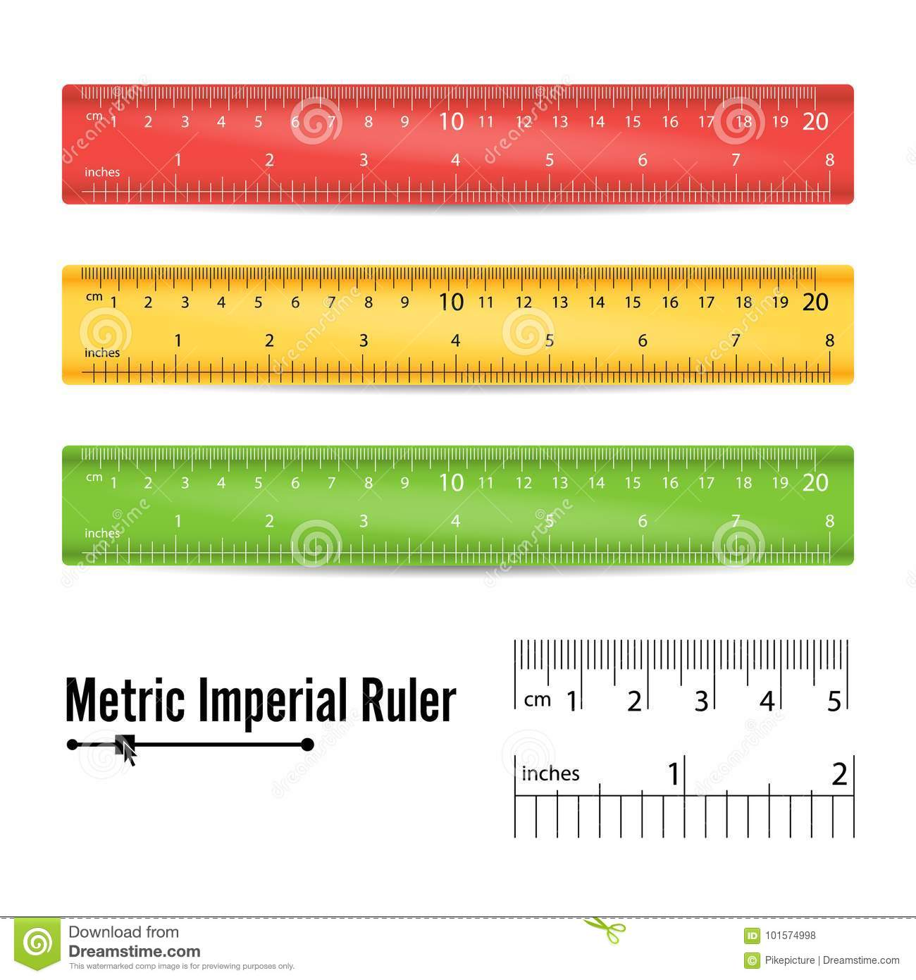 School Measuring Ruler Vector Measure Tool Millimeters Centimeters And Inches Scale Isolated