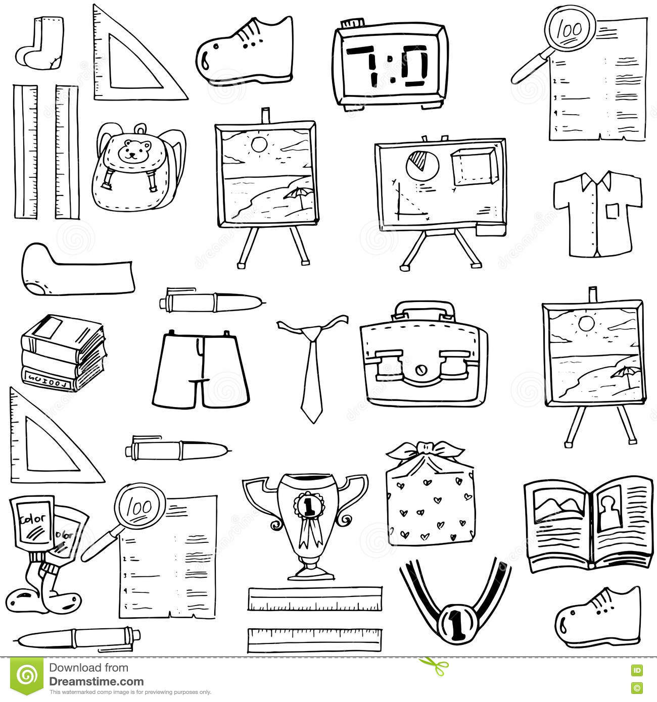 School Object Doodles Classroom Supplies Stock Illustration