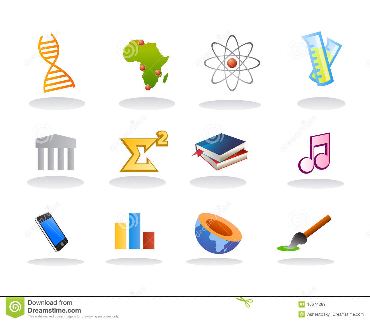 School Subject Icons Royalty Free Stock Images