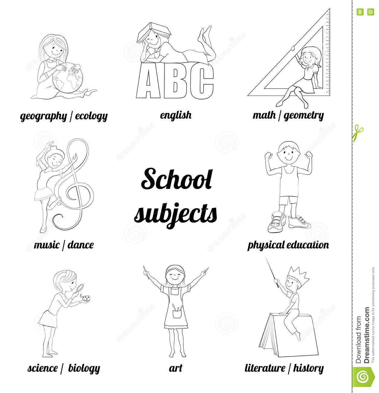 School Subjects Vector Coloring Page Stock Vector