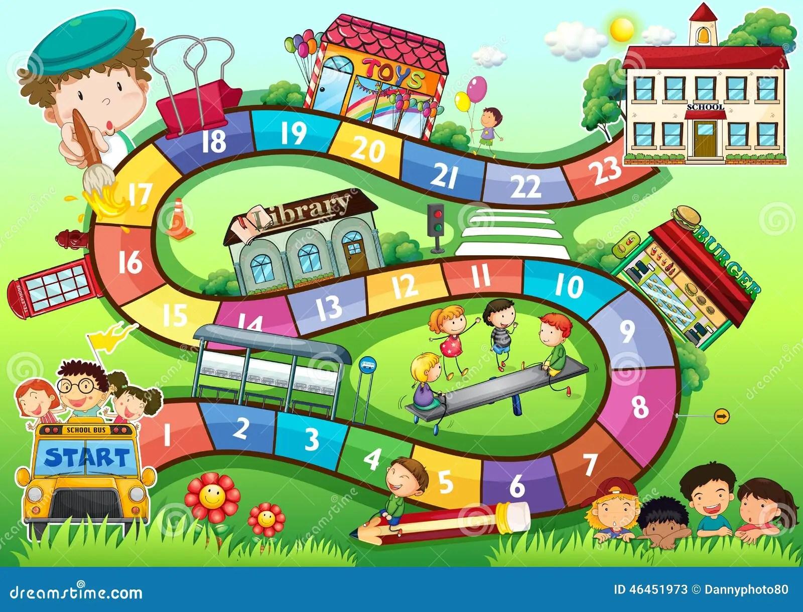 School Theme Board Game Stock Vector