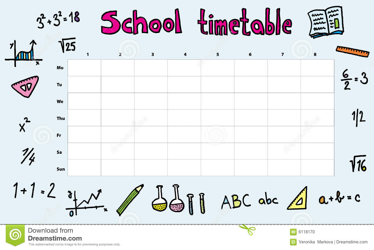 School Timetable Stock Vector Illustration Of Math