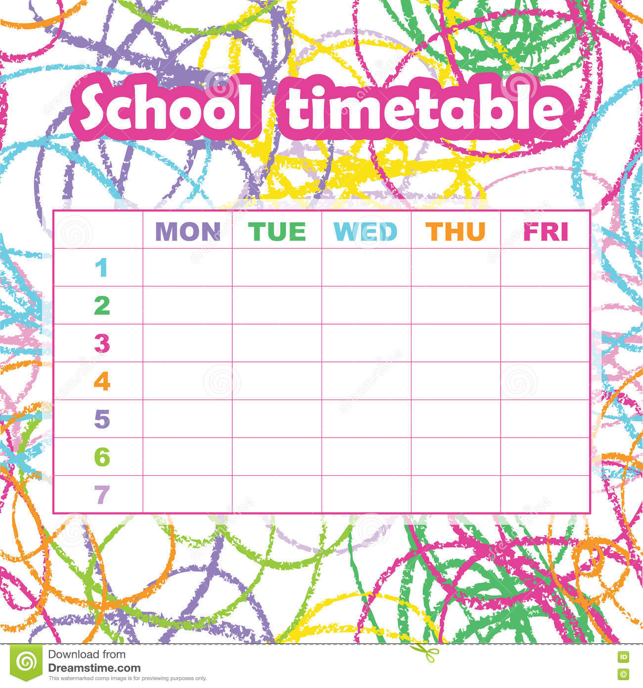 School Timetable Template For Students And Pupils