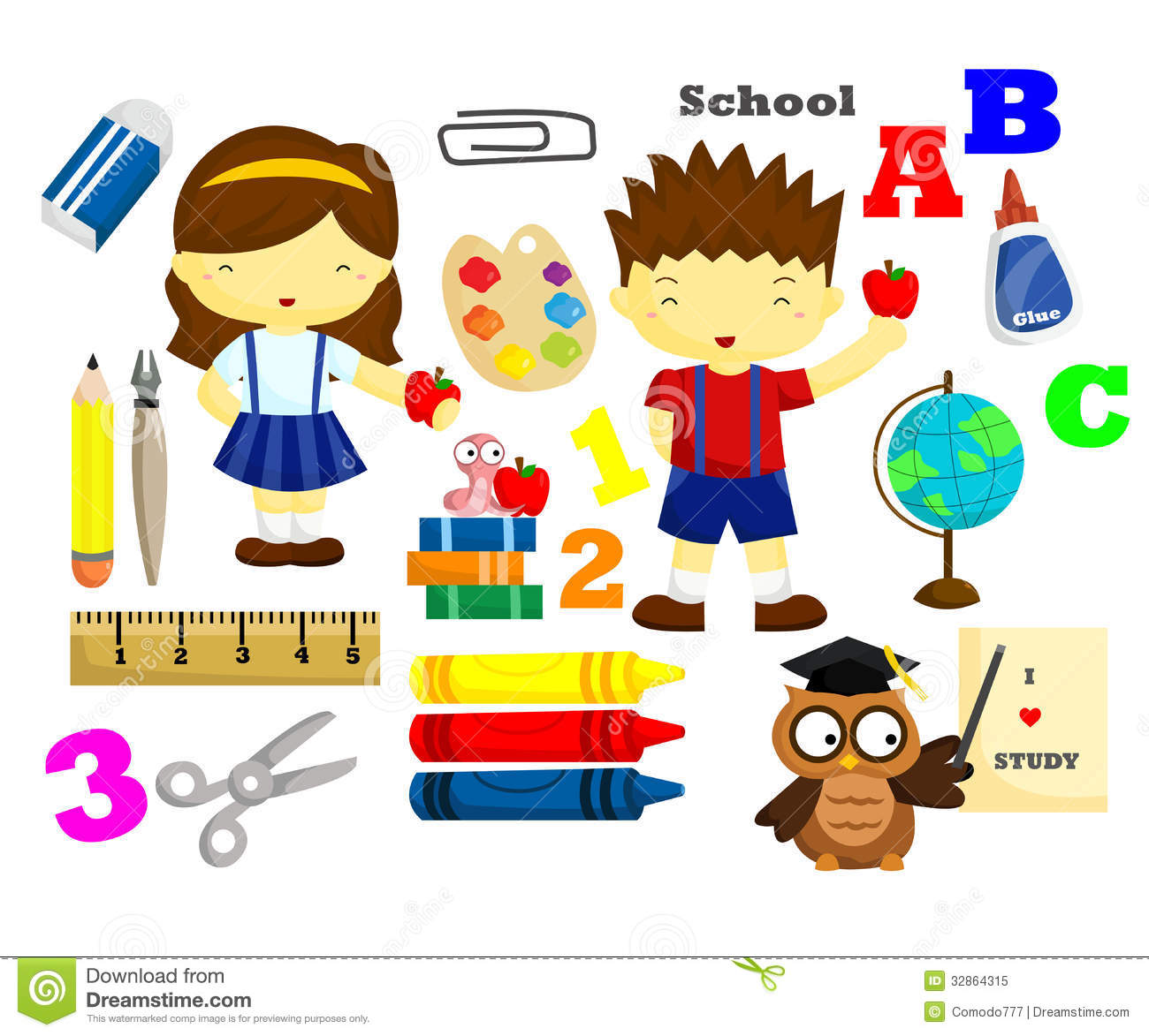 School Vector Set Stock Vector Illustration Of Letters