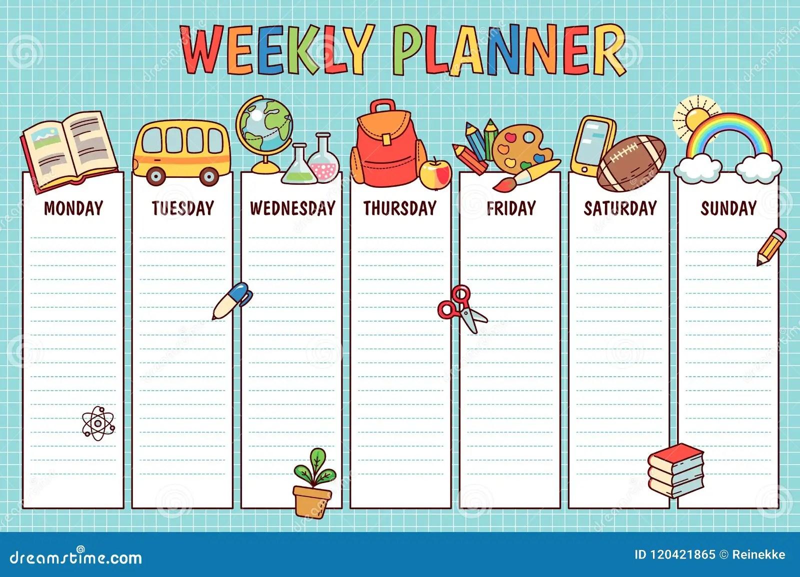 School Weekly Planner Stock Vector Illustration Of