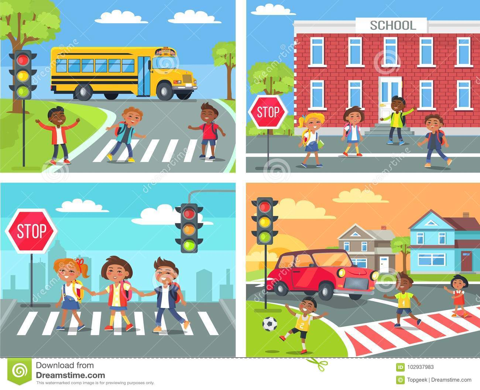 Schoolchildren Cross Road On Pedestrian Crossing Stock