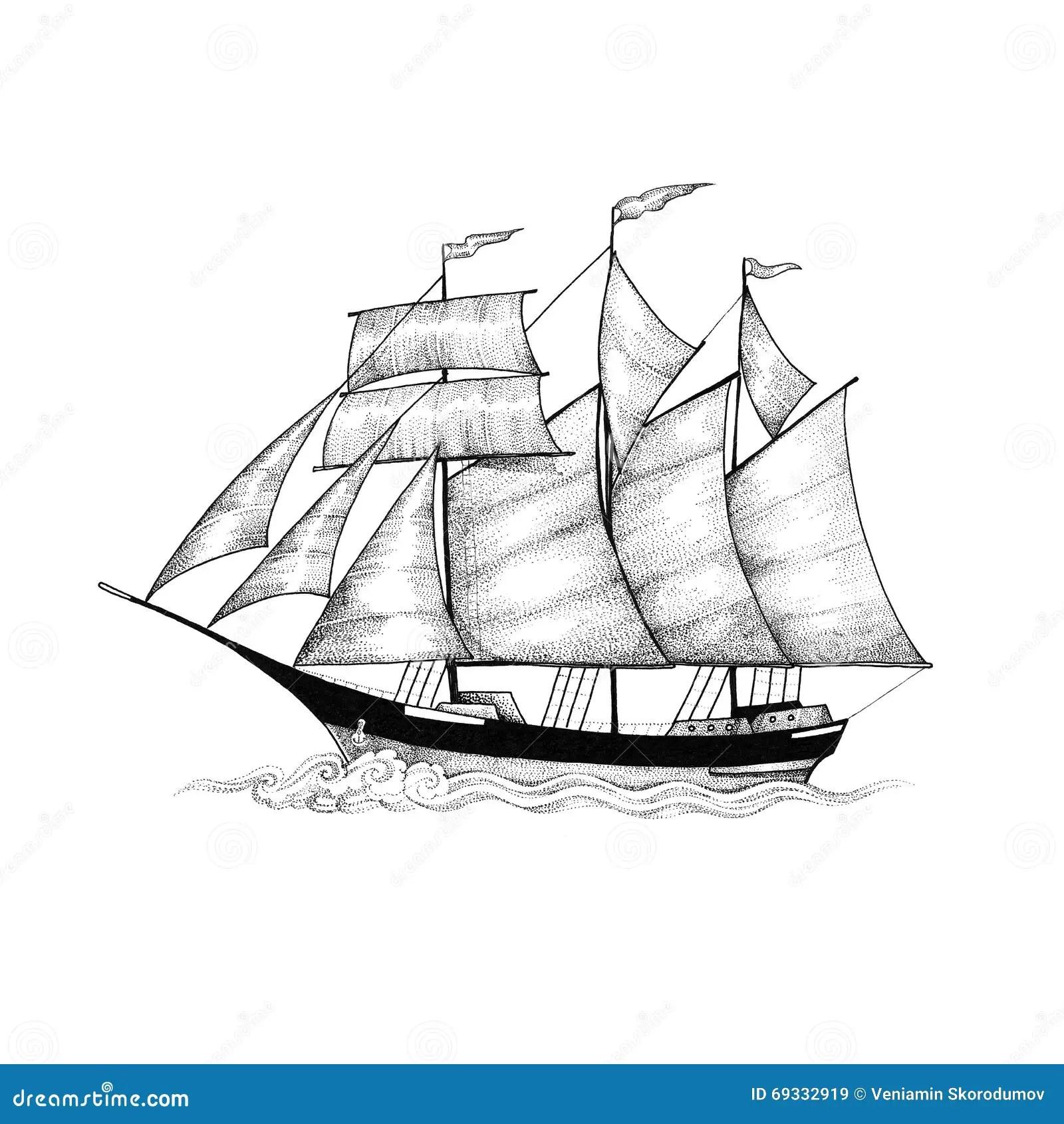 Schooner Sailing Ship Sliding On The Waves Stock