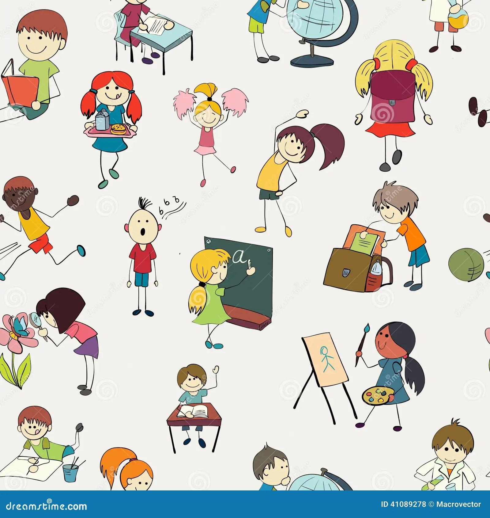 Schulkinder Kritzeln Nahtloses Muster Vektor Abbildung