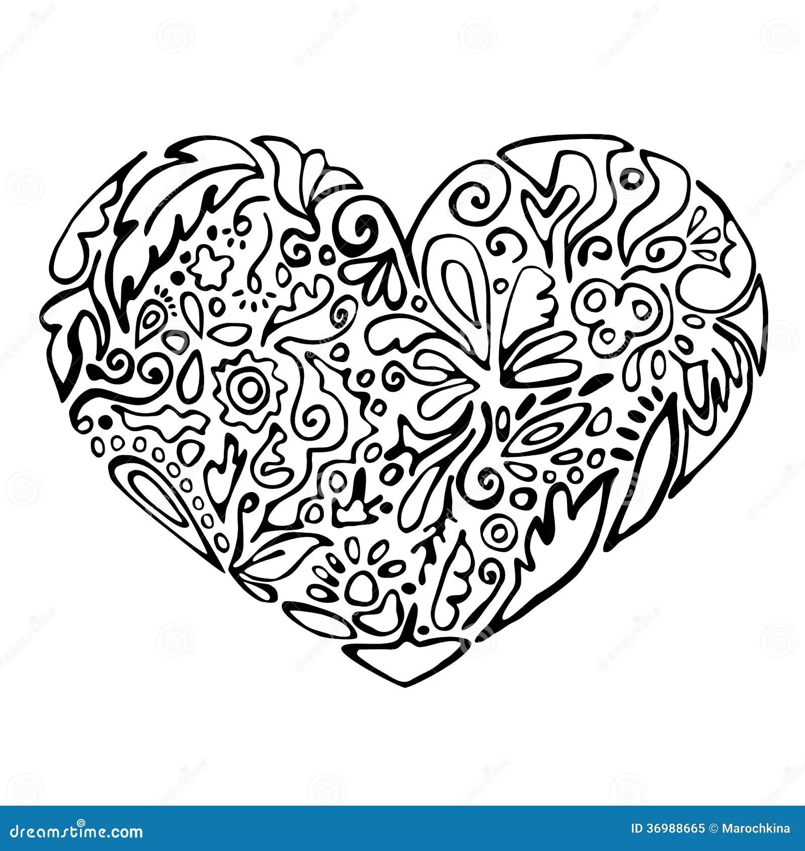 Schwarzweiss Herz Stock Abbildung Illustration Von