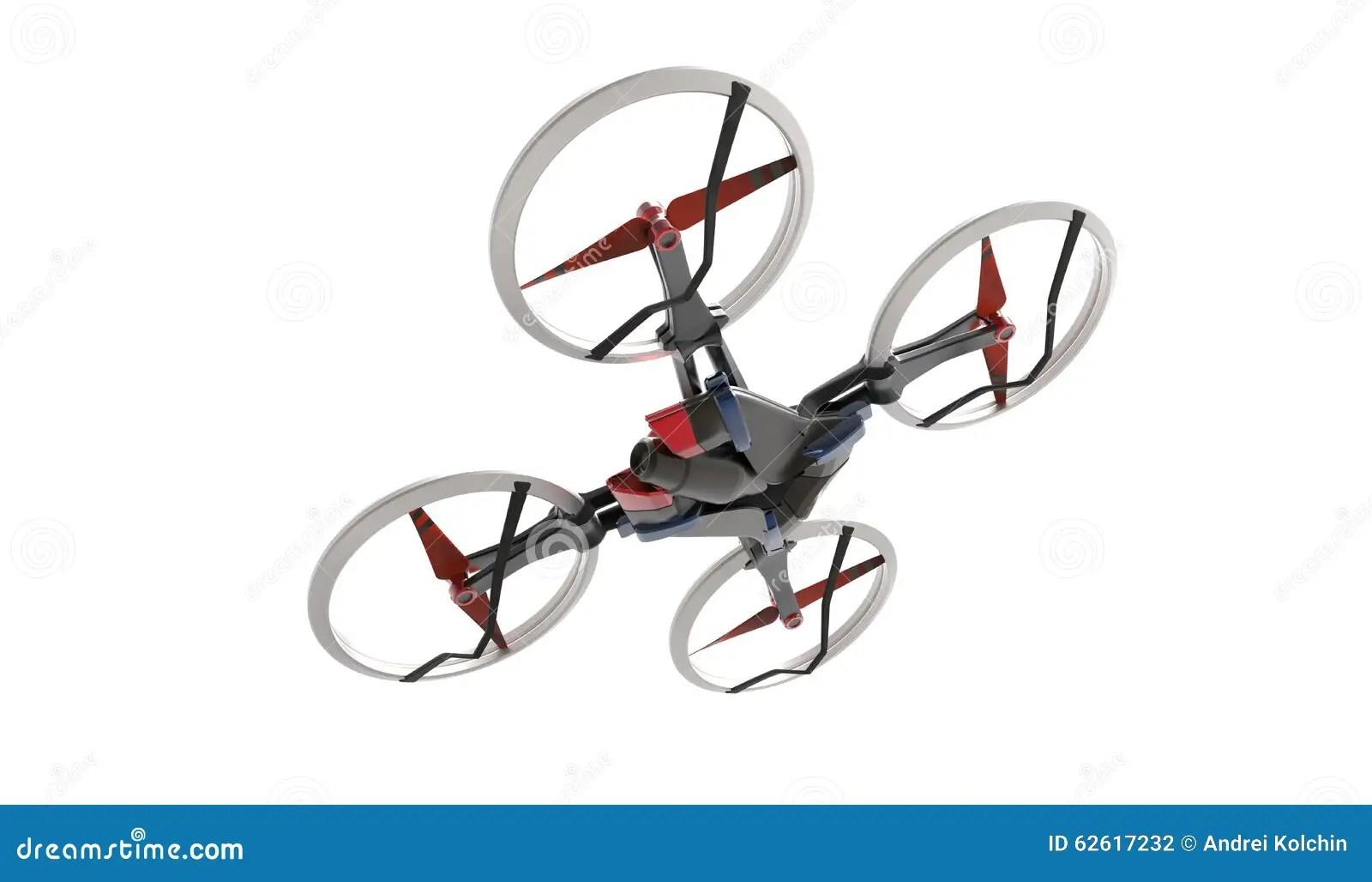 Sci Fi Hi Tech Drone Quadcopter With Remote Control Stock