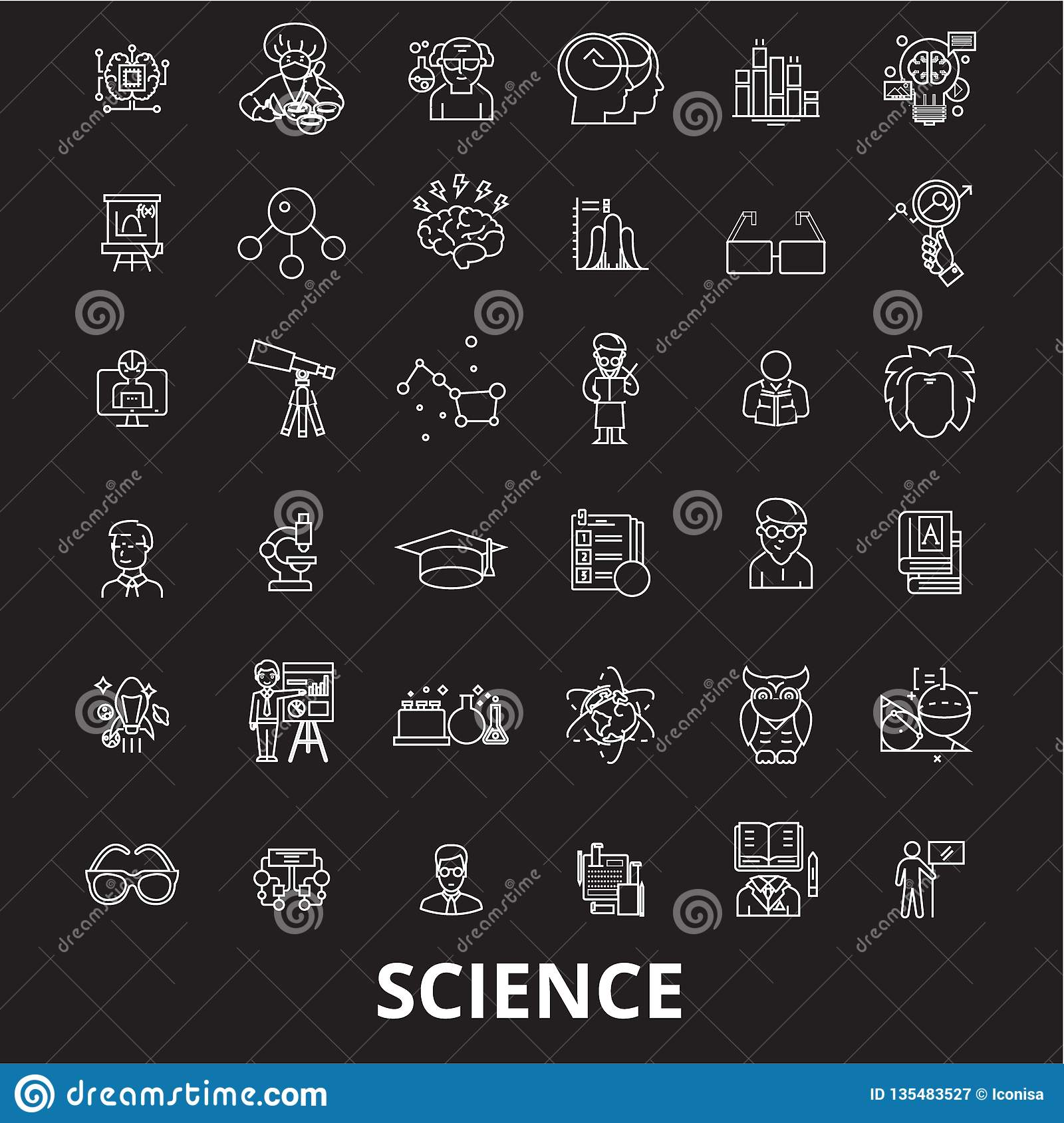 Science Editable Line Icons Vector Set On Black Background