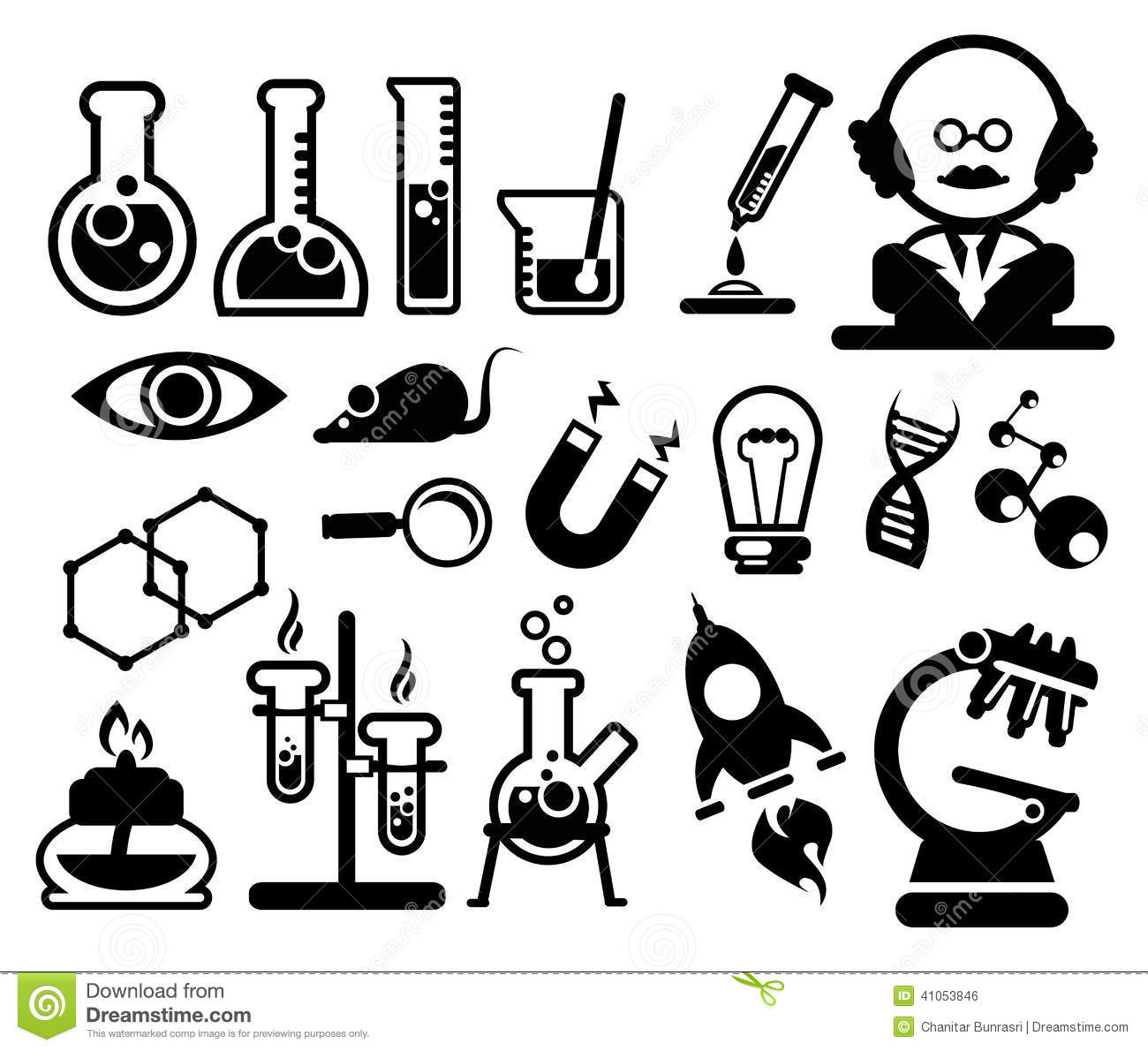 Science Icons Set Stock Vector Illustration Of Button