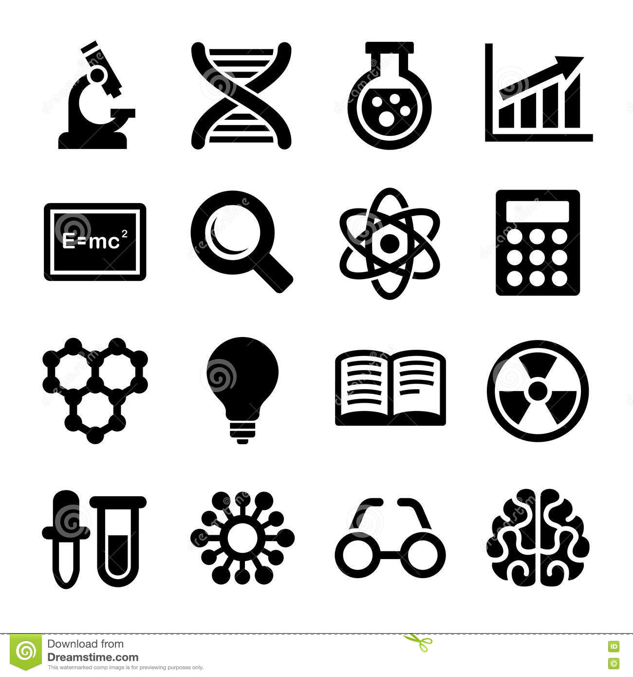 Science Icons Set Vector Stock Vector Illustration Of