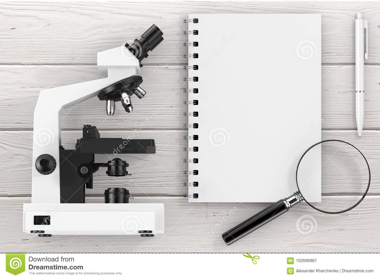 Science Or Learning Concept Microscope Magnifying Glass