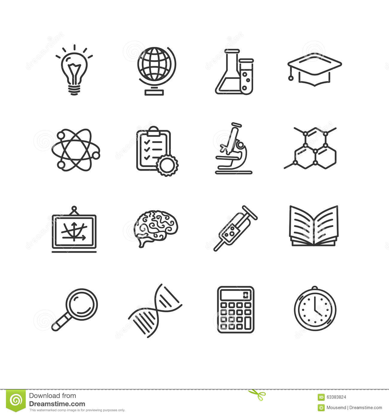 Science Outline Black Icons Set Vector Stock Vector